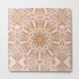 Abstract Rose Marble and Gold Kaleidoscope Mandala Metal Print