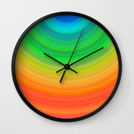 Rainbow Smile Colored Circles Summer Pattern Wall Clock