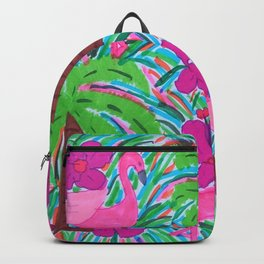 Beach Party with Palms and Flamingos Backpack