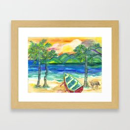 Artie the Island Dog's Red Boat Framed Art Print