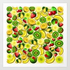 Summer Fruits Juicy Pattern  Art Print
