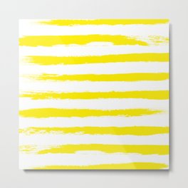 Sunny Yellow STRIPES Handpainted Brushstrokes Metal Print