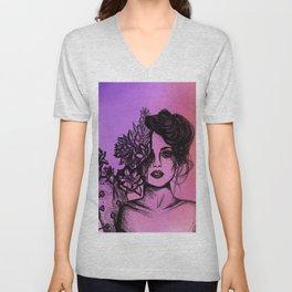 Sunset Succulent Babe | Sunset | Succulents | Cacti | Cactus | Succulent | Portrait | Pink | Orange Unisex V-Neck