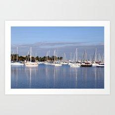 Biscayne Bay Sailboats Art Print