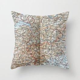 Where Italy, France & Switzerland meet, 1900 map Throw Pillow