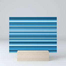 Light Sea Breeze Horizontal Variegated Blue and White Stripes Mini Art Print