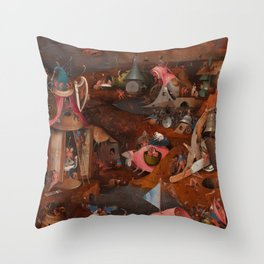 """Hieronymus Bosch """"The Last Judgment"""" triptych (Bruges) cental panel Throw Pillow"""