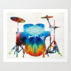 Drum Set Art - Color Fusion Drums - By Sharon Cummings Art Print