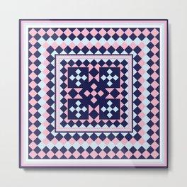 Patchwork Quilt - Pink Blue Navy Metal Print