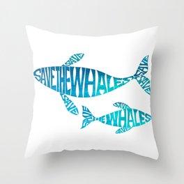 Save the Whales, Aqua blue Throw Pillow