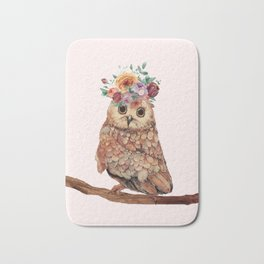 Owl with Flowers Bath Mat