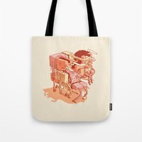 party Tote Bags featuring party by Ben Bauchau