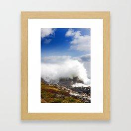 Wave crashing in Louisbourg Framed Art Print