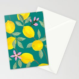 Lemons and Blossoms on Teal Stationery Cards