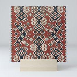 vintage Kilim Rug | Ethnic Style Red Blue Mini Art Print