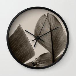 Banana Tree Leaves in Sepia Wall Clock