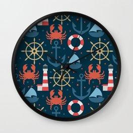 Sea blue pattern Wall Clock