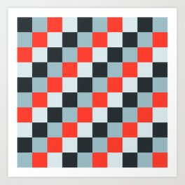 Stainless steel knife - Pixel patten in light gray , light blue and red Art Print