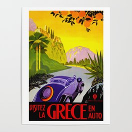 Visit Greece in Auto Travel Poster