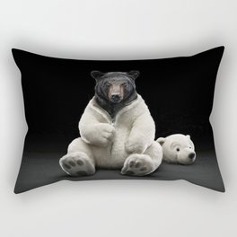 Black bear wearing polar bear costume Rectangular Pillow