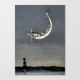 """ Moon's First Voyage"" Fairy Art by W Heath Robinson Canvas Print"