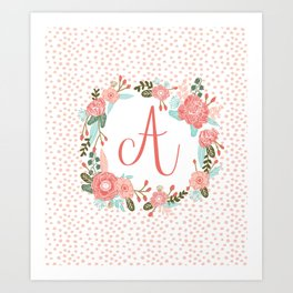 Monogram A - cute girls coral florals flower wreath, coral florals, baby girl, baby blanket Art Print