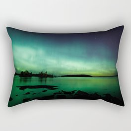 Northern lights lake landscape in Finland Rectangular Pillow