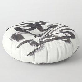 Mid Century Modern Minimalist Abstract Art Brush Strokes Black & White Ink Art Pipe Maze Floor Pillow
