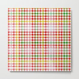 Houndstooth Classic Red Green Yellow Plaid Metal Print