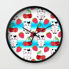 Cute funny sweet adorable happy baby cows, little cherries and red ripe summer strawberries cartoon fantasy blue and white pattern design Wall Clock