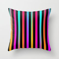 Neon Stripes Throw Pillow