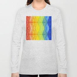 Geometric Abstract Rainbow Watercolor Pattern Long Sleeve T-shirt