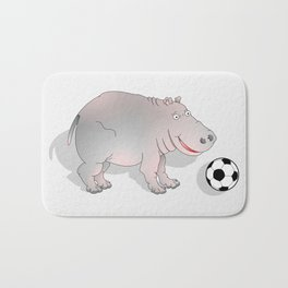 Hippo playing Football Bath Mat