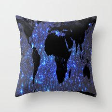 World Map : Blue Galaxy Stars Throw Pillow