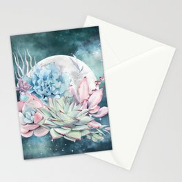 Beautiful Succulents Full Moon Teal Pink Stationery Cards