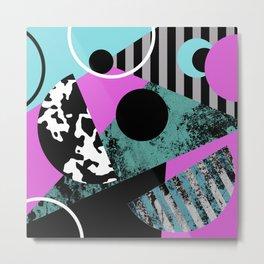 Bits N Pieces - Abstract, geometric, stripes, textured, pastel, blue, pink, black Metal Print
