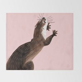 Asian small-clawed otter Throw Blanket