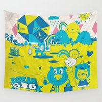 large Wall Tapestries featuring Live Large by jumpy