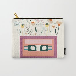 Magenta Botanical Cassette tape Carry-All Pouch