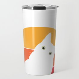 Vintage Retro 80s Curious Cute Cat on Sunset Looking Funny design Travel Mug
