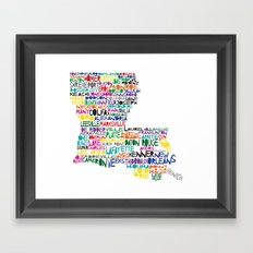 Louisiana Typography Framed Art Print
