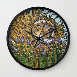 Lion in Lavender Painting Wall Clock