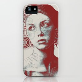 Ayil: Red Shadow | vintage lady portrait | zentangle mandala drawing iPhone Case