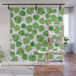 Hand painted neo mint green watercolor leaves Wall Mural