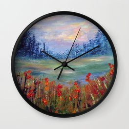 Abstract Landscape Painting, Between Dimensions, Modern Home decor Wall Clock