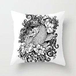 Black and White Carpa koi Throw Pillow