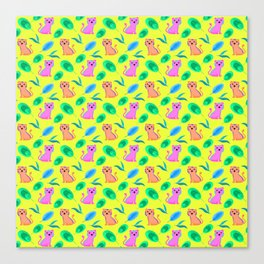 Cute happy little baby pink tigers tropical rainforest exotic green blue leaves yellow pattern Canvas Print