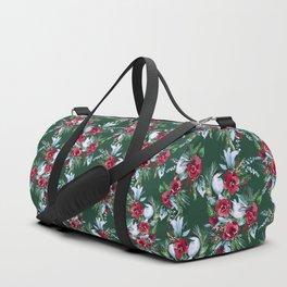 Winter Birds Dark Green Duffle Bag