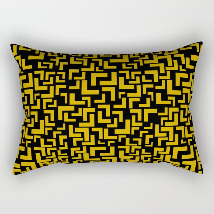 Glitches in the Void, Gold Rectangular Pillow