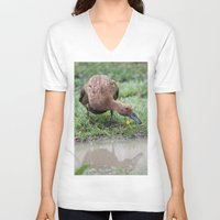 runner V-neck T-shirts featuring Chocolate Runner by Stecker Photographie